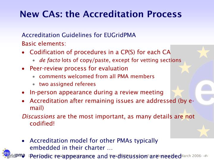New CAs: the Accreditation Process