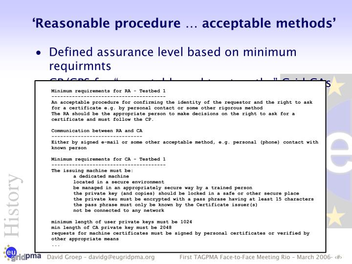 Minimum requirements for RA - Testbed 1