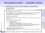 reasonable procedure acceptable methods