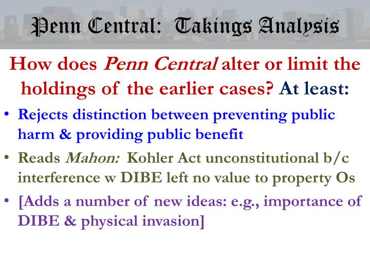 Penn Central:  Takings Analysis