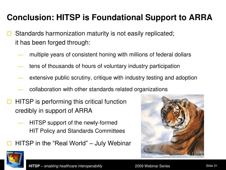 Conclusion: HITSP is Foundational Support to ARRA