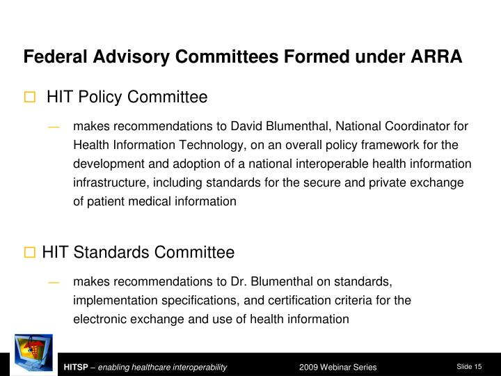 Federal Advisory Committees Formed under ARRA