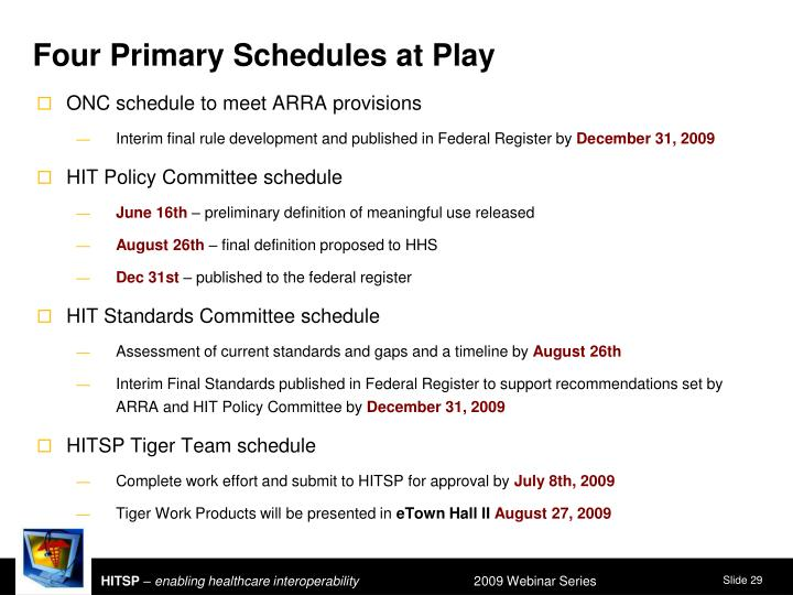 Four Primary Schedules at Play
