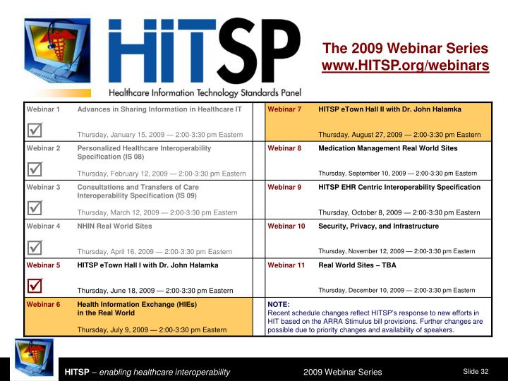 The 2009 Webinar Series
