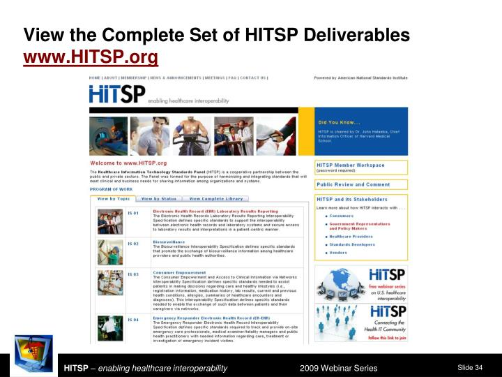 View the Complete Set of HITSP Deliverables