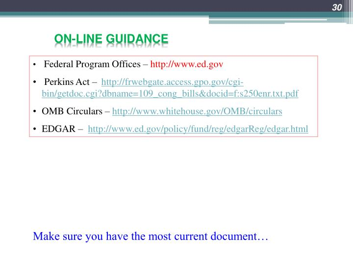 On-line guidance