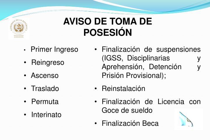 AVISO DE TOMA DE POSESIÓN