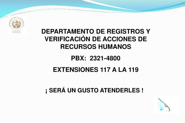 DEPARTAMENTO DE REGISTROS Y VERIFICACIÓN DE ACCIONES DE RECURSOS HUMANOS