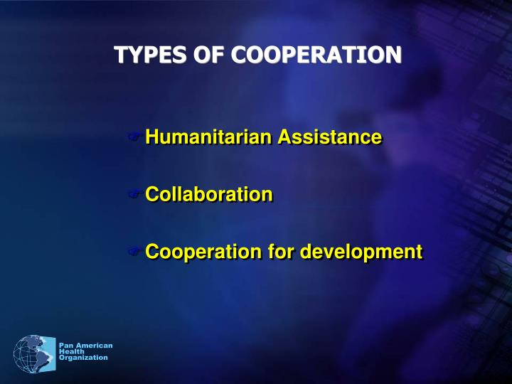 TYPES OF COOPERATION