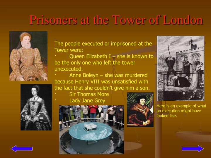 Prisoners at the Tower of London
