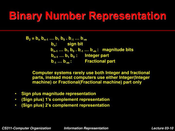 Binary Number Representation