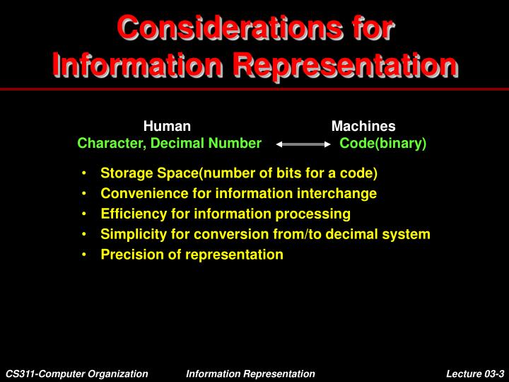 Considerations for information representation