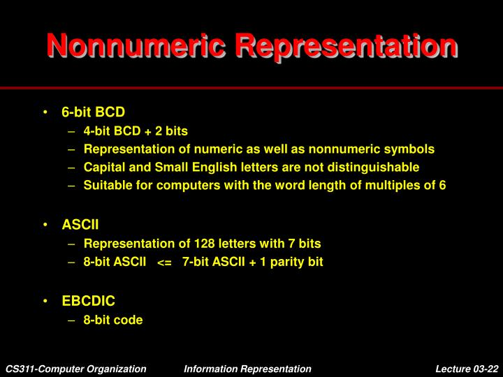 Nonnumeric Representation