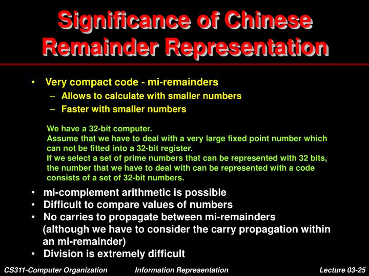 Significance of Chinese Remainder Representation