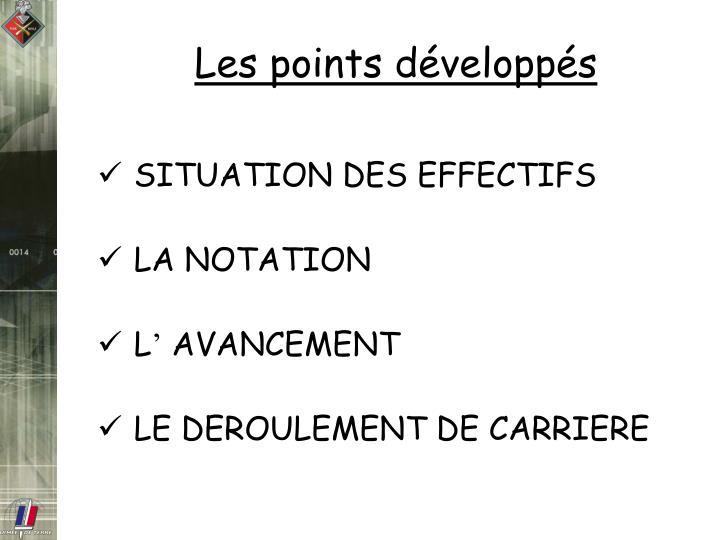 Les points développés
