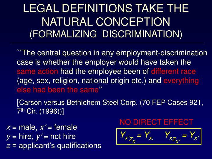 LEGAL DEFINITIONS TAKE THE NATURAL CONCEPTION