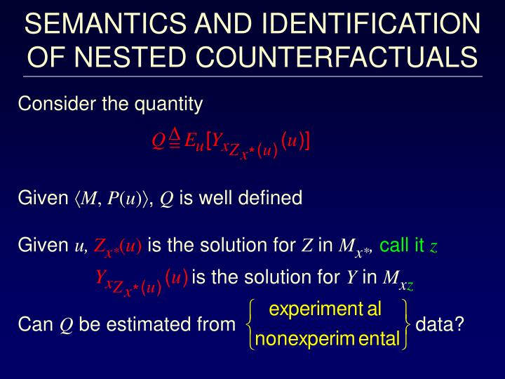 SEMANTICS AND IDENTIFICATION OF NESTED COUNTERFACTUALS