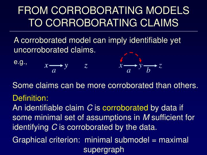 FROM CORROBORATING MODELS