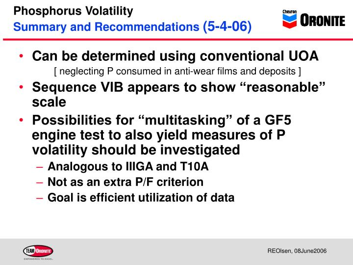 Phosphorus volatility summary and recommendations 5 4 06