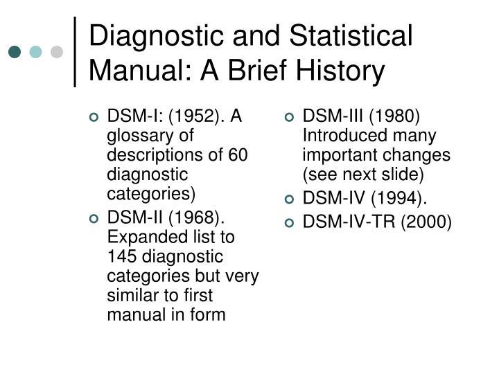 DSM-I: (1952). A glossary of descriptions of 60 diagnostic categories)