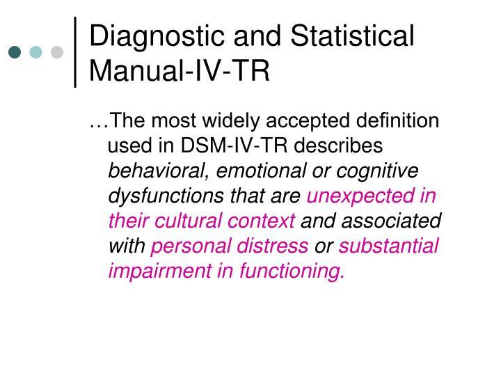 Diagnostic and Statistical Manual-IV-TR