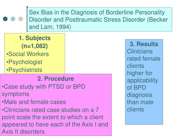 Sex Bias in the Diagnosis of Borderline Personality Disorder and Posttraumatic Stress Disorder (Becker and Lam, 1994)