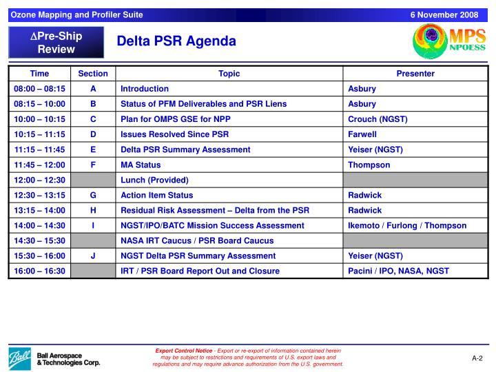 Delta PSR Agenda