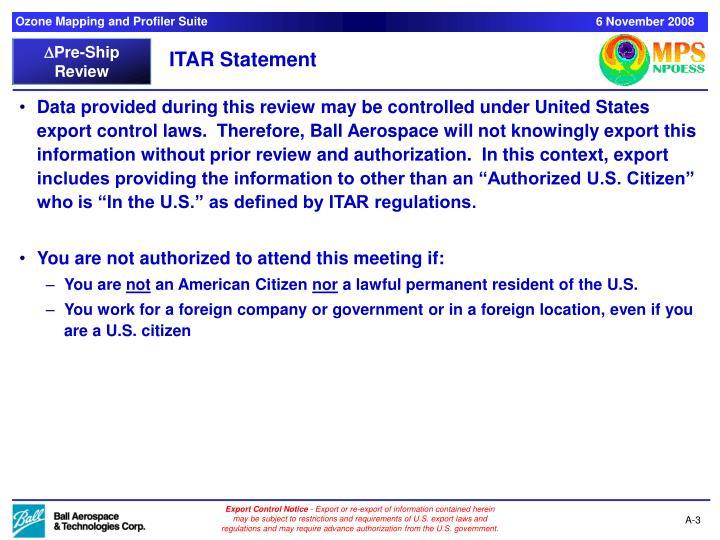 ITAR Statement