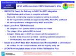 psr will demonstrate omps readiness to ship