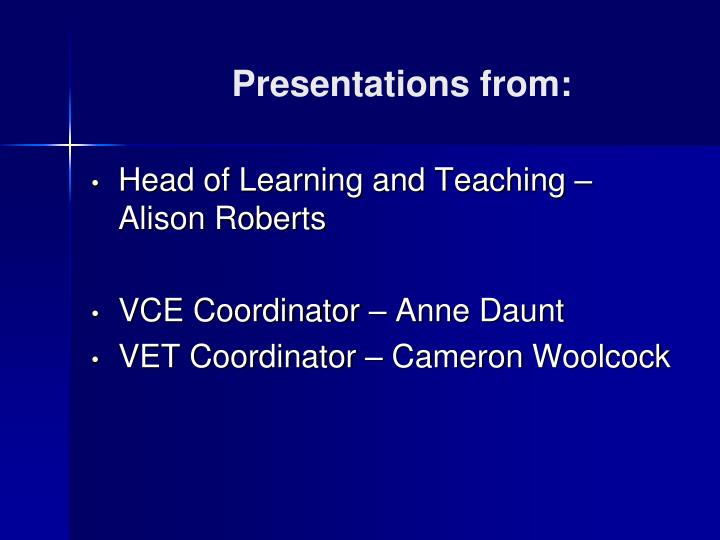 Presentations from: