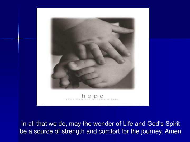 In all that we do, may the wonder of Life and God's Spirit be a source of strength and comfort for the journey. Amen