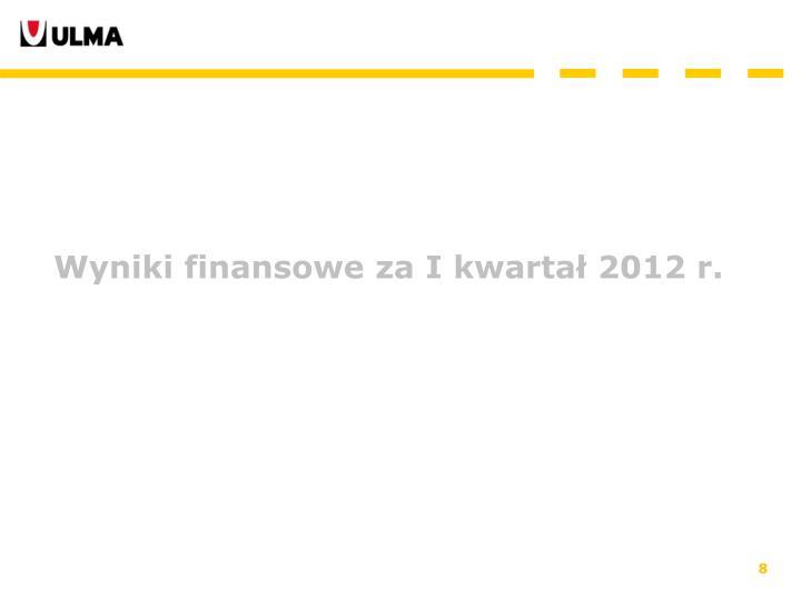 Wyniki finansowe za I kwartał 2012 r.