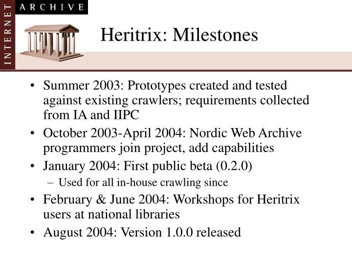 Heritrix: Milestones