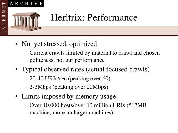 Heritrix: Performance