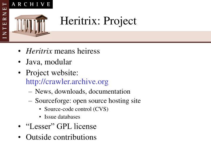 Heritrix: Project