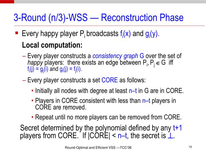 3-Round (n/3)-WSS — Reconstruction Phase