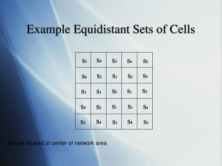 Example Equidistant Sets of Cells