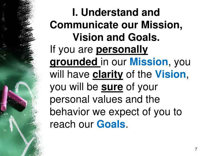 I. Understand and Communicate our Mission, Vision and Goals.
