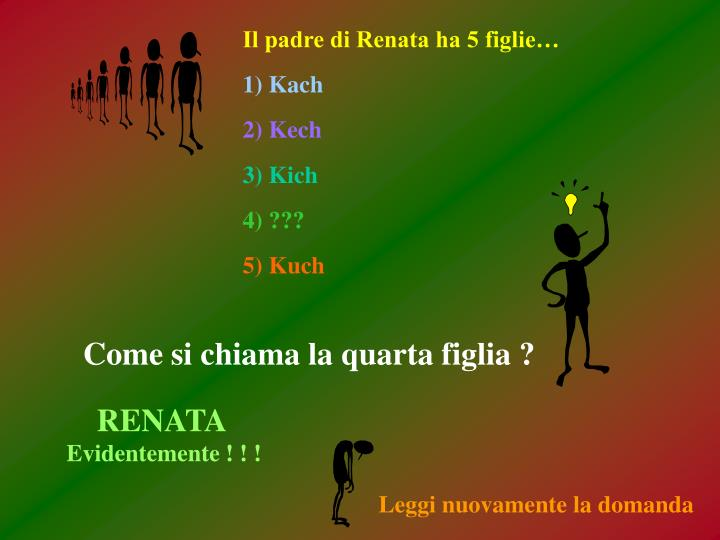 Il padre di Renata ha 5 figlie…