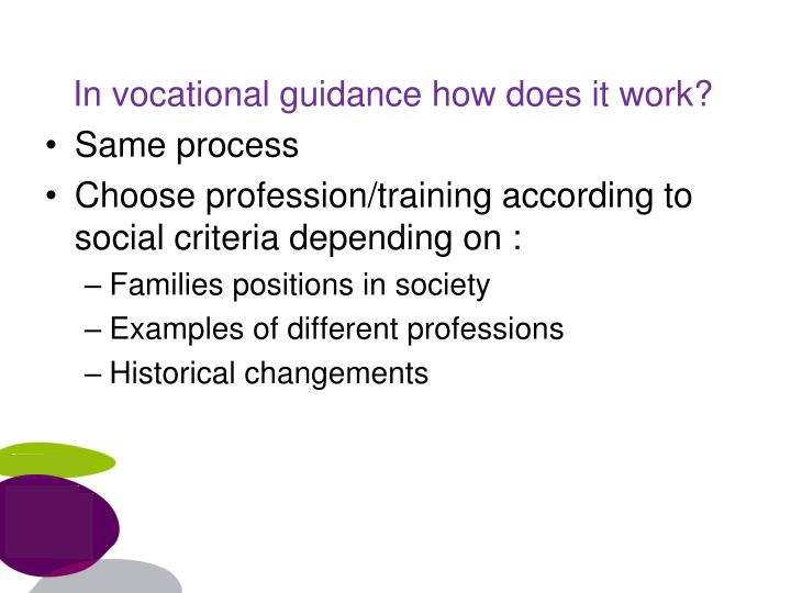 In vocational guidance how does it work?