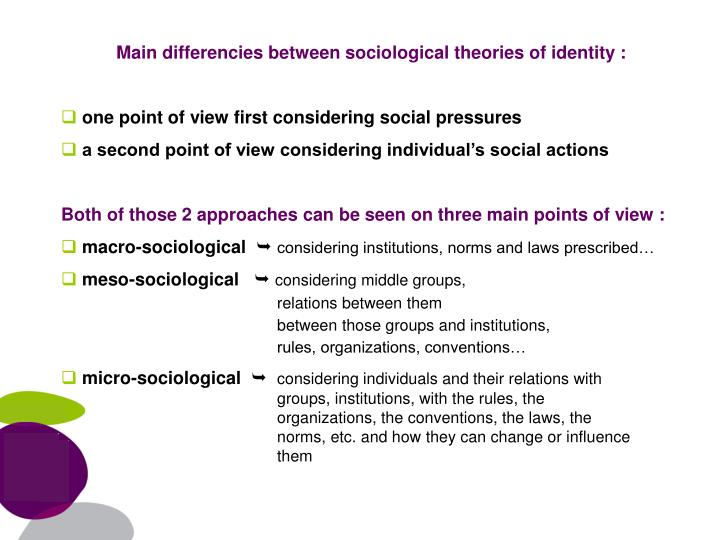 Main differencies between sociological theories of identity :