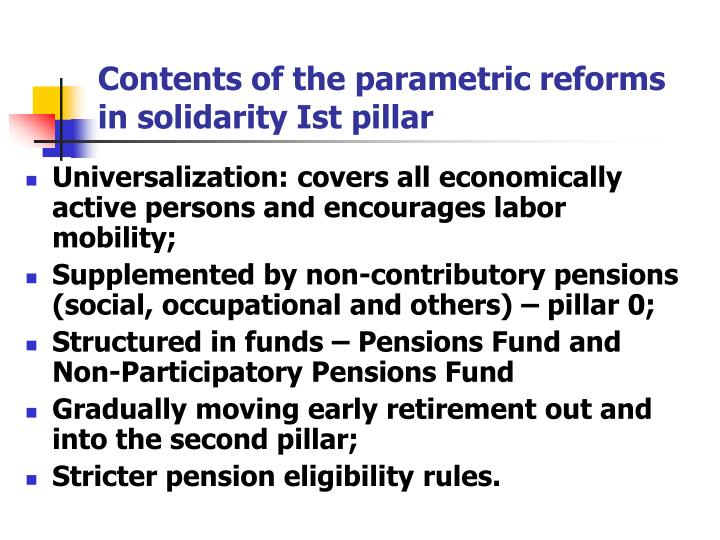Contents of the parametric reforms in solidarity Ist pillar