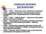 pension reform background