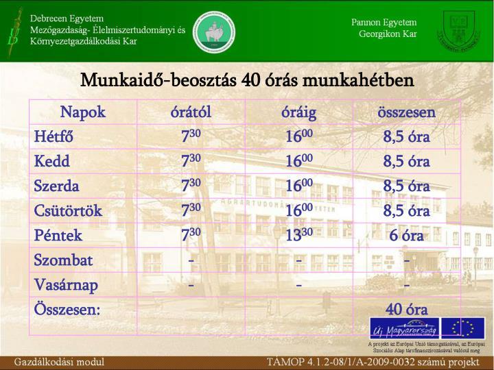 Munkaid-beoszts 40 rs munkahtben
