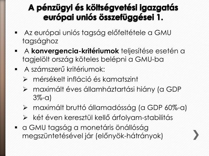 Az európai uniós tagság előfeltétele a GMU tagsághoz