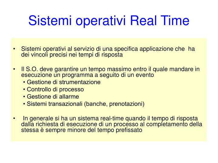 Sistemi operativi Real Time