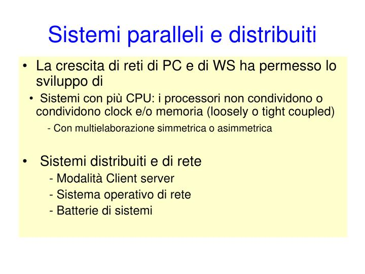 Sistemi paralleli e distribuiti