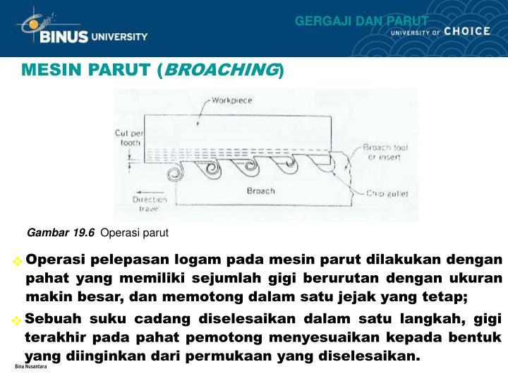 Operasi pelepasan logam pada mesin parut dilakukan dengan pahat yang memiliki sejumlah gigi berurutan dengan ukuran makin besar, dan memotong dalam satu jejak yang tetap;