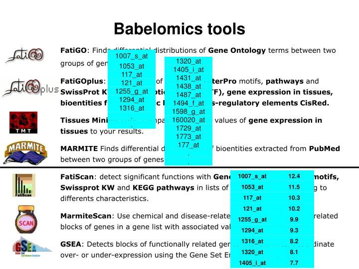Babelomics tools