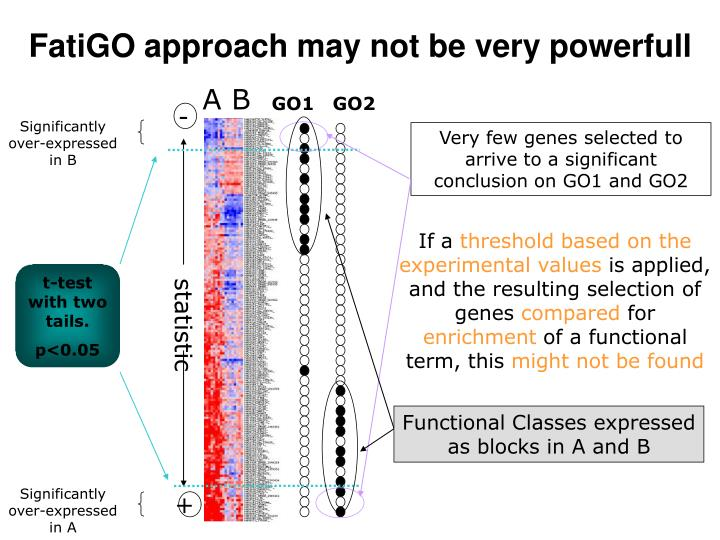 Very few genes selected to arrive to a significant conclusion on GO1 and GO2